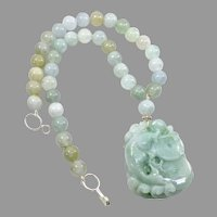 Carved Natural Green Jade Fish with Burmese Jade Necklace