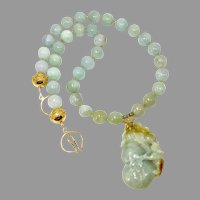 Hand Carved Green Jade Rabbit, Burmese Jade Necklace