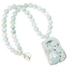 Hand Carved Jade Dragon, Natural Aquamarine Necklace