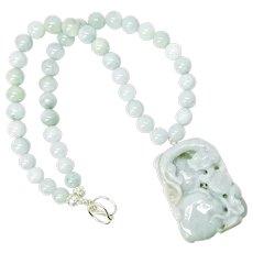 Hand Carved Jade Dragon, Natural Aquamarine Necklace