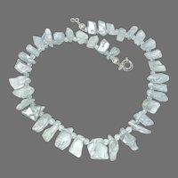 Gem Quality Aquamarine Nugget Drop Necklace