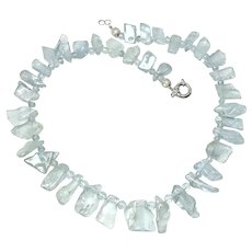 Gem Quality Aquamarine Nugget Drop Necklace