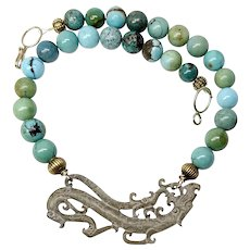 Vintage Carved Jade Dragon, Vintage Chinese Turquoise Necklace