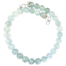 Large Great Quality Translucent Aquamarine Necklace