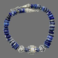 Old Silver Berber Moroccan Enameled Bead, Natural Lapis Necklace