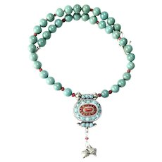 Old Indian Tribal Silver, Turquoise and Coral Gau Box, Turquoise Necklace