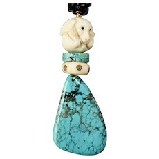 Beautiful Chinese Turquoise, Carved Bone Dog Pendant Necklace