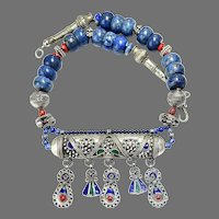 Moroccan Berber Enameled Silver Prayer Box, Lapis Tribal Necklace