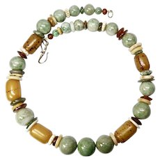 Green Jade and African Singed Amber Necklace
