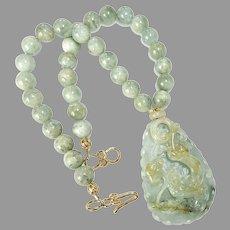 Hand Carved Jade Sea Dragon, Aquamarine Necklace