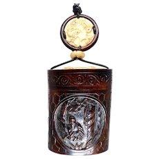 Carved Chinese Teak Treasure Box Pendant Necklace