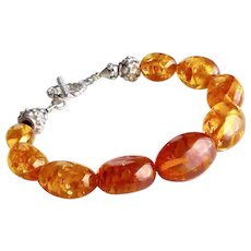 Baltic Honey Amber and Silver Bracelet