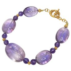 Clear Purple Amethyst Oval Bracelet