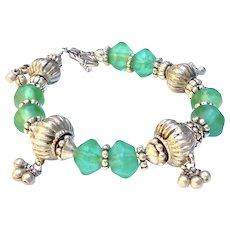 Antique Indian Silver, Antique Green Dutch African Vaseline Glass Bracelet