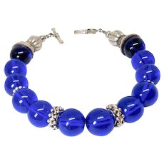 Antique Chinese Blue Cobalt Peking Glass, Sterling Silver Bracelet