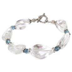 Rock Quarts Chrystal Nugget Sterling Silver Bracelet