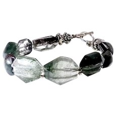 Faceted Green Lodalite, Sterling Silver Bracelet