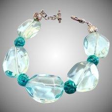 Large Faceted Blue Quartz Nuggets, Carved Turquoise Bracelet
