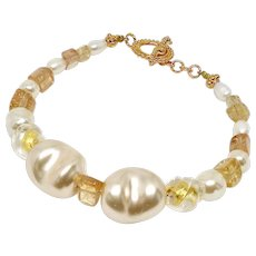 Baroque Pearl, Imperial Topaz and Italian Gold Foil Bracelet