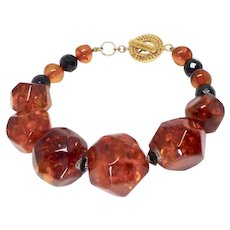 Large Faceted Honey Baltic Amber Nuggets Bracelet