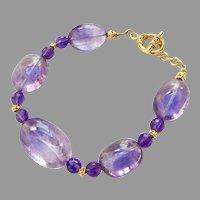 Clear Purple Ovals Amethyst Bracelet