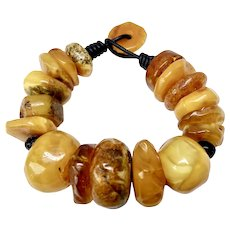 Natural Warm Golden Baltic Butter Amber Bracelet