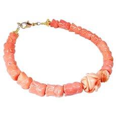 Carved Coral Blossom Bracelet