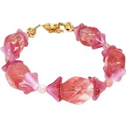 Pink Quartz and Pink Glass Tulip Bracelet
