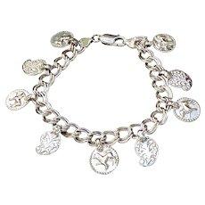 Sterling Silver Indian Charm Bracelet