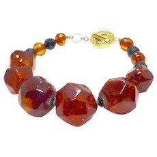 Large Faceted Honey Baltic Amber Nuggets Bracelet