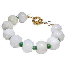 Carved White Carved Jade Lotus, Green Aventurine Bracelet