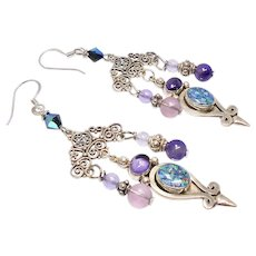 Harlequin Opal with Purple Amethyst Chandelier Drop Earrings