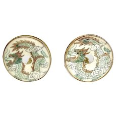Large Hand Etched Bone Dragon Button Earrings