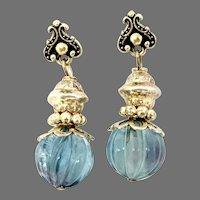 Beautiful Blue Fluorite Melon Bead Drop Earrings
