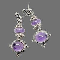 Vintage Amethyst and Silver Drop Earrings
