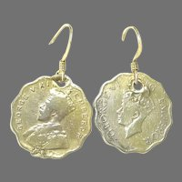 Vintage Commonwealth Indian Coins - 1946 - 18k Gold Vermeil Wire Drop Earrings