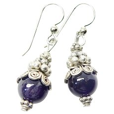 Dark Rich Purple Amethyst Drop Earrings