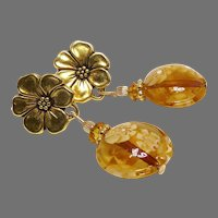 Golden Murano Venetian Glass Drop Earrings