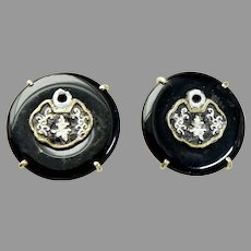 Black Onyx with Chinese Lock Button Earrings