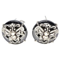 Shiny Hematite and Silver Butterfly Button Earring