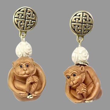 Carved Boxwood Monkeys Drop Earrings