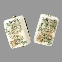 Hand Etched Bone Dragon Mahjong Button Earrings