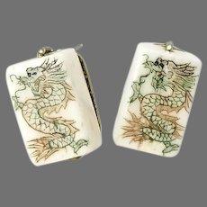 Hand Etched Bone Dragon Mahjong Button Earrings