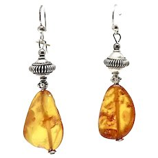 Large Golden Baltic Amber Nugget Drop Earrings