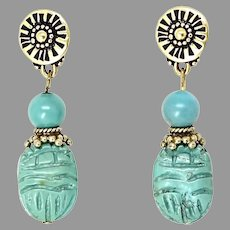 Carved Old Chinese Turquoise Cicada Drop Earrings