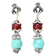 Turquoise and Old Indian Red Glass Drop Earrings