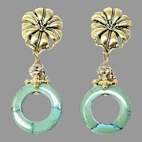 Natural Chinese Turquoise Drop Earrings