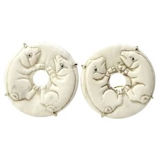 Carved Bone Pig Button Earrings
