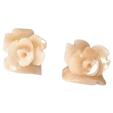 Carved Angel Skin Coral Roses Button Earrings 14K Gold