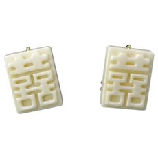 Carved Bone Double Happiness French Clip Earrings